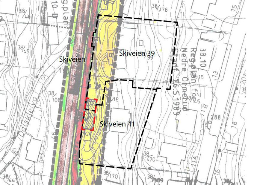 Gang og sykkkelvei Skiveien -Oversiktskart