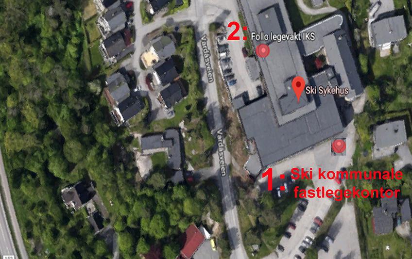 1:Inngang Ski kommunale fastlegekontor. 2:Inngang Follo legevakt IKS.