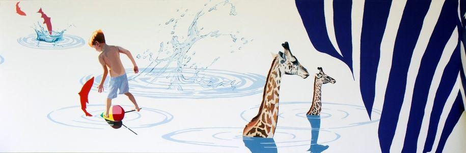 Illustrasjon av barn og dyr som leker i vann