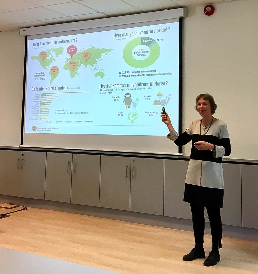En kvinne foredrar foran en skjerm med fire ulike grafiske fremstillinger av tall og statistikk om innvandring til Norge.
