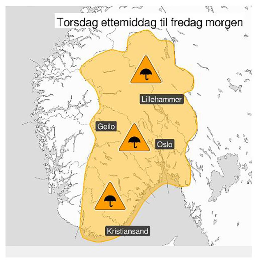 Værkart for Østlandet 6. juni 2019 fra Meteorologisk institutt