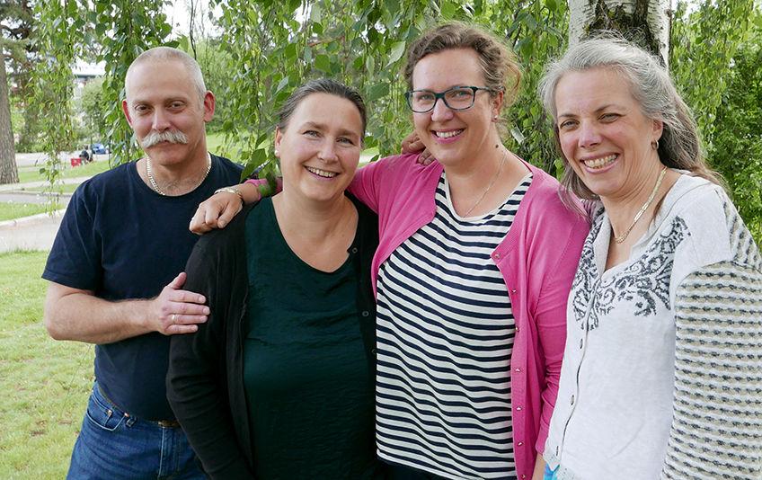 Fra venstre Erik Bakos-Holthe, Anne Witberg, Elise Hertzberg og Kjersti Bakos-Holthe (foto Jan Walbeck)