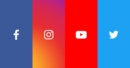 Illustrasjonsbilde av logoene til Facebook, Instagram, Youtube og Twitter.