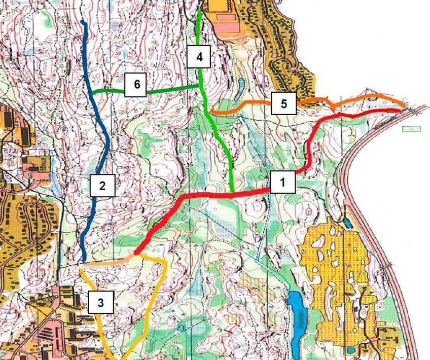 Kart over tursti Ødegården til Åsland med alternative stier