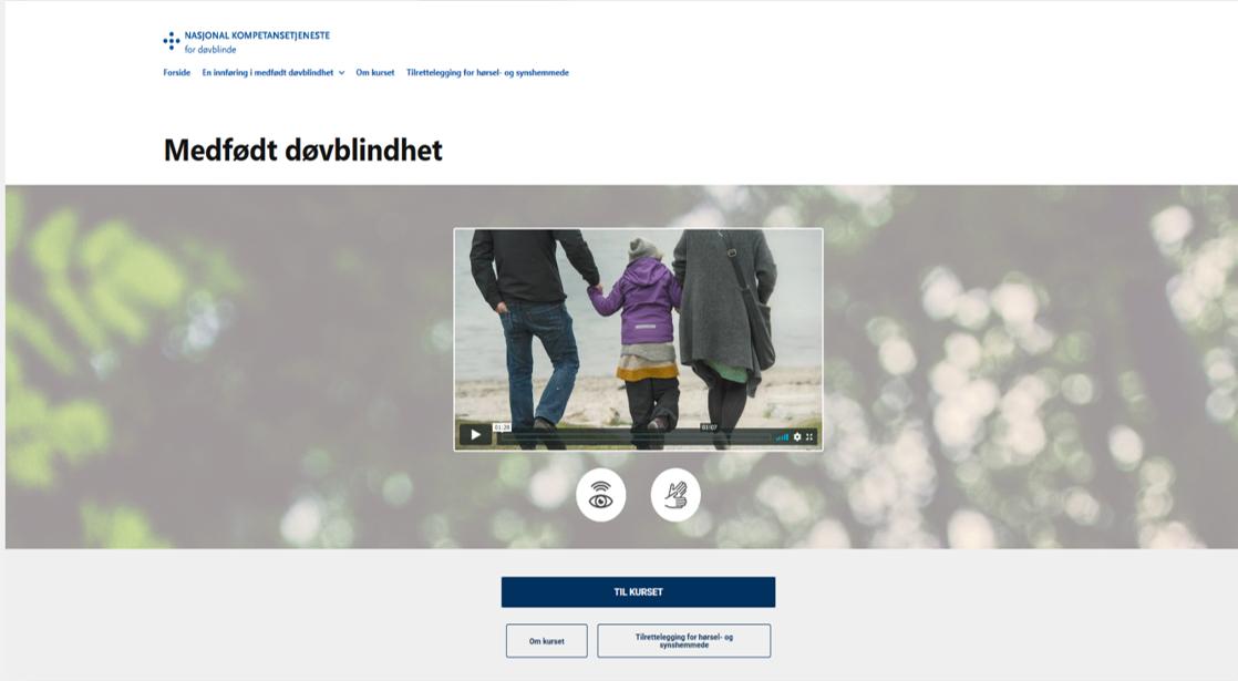 Forsiden av nettkurset medfødt døvblindhet, et skjermfoto.