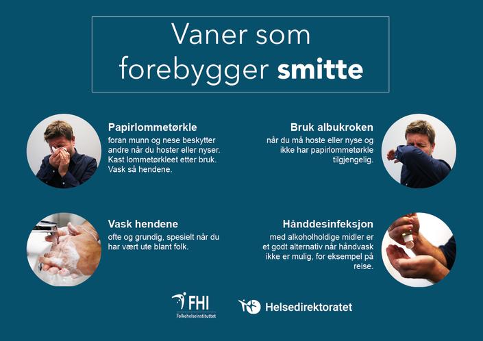 Plakat FHI - vaner som forebygger smitte