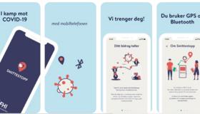 Skjermdump med ulike bilder fra appen Smittestopp