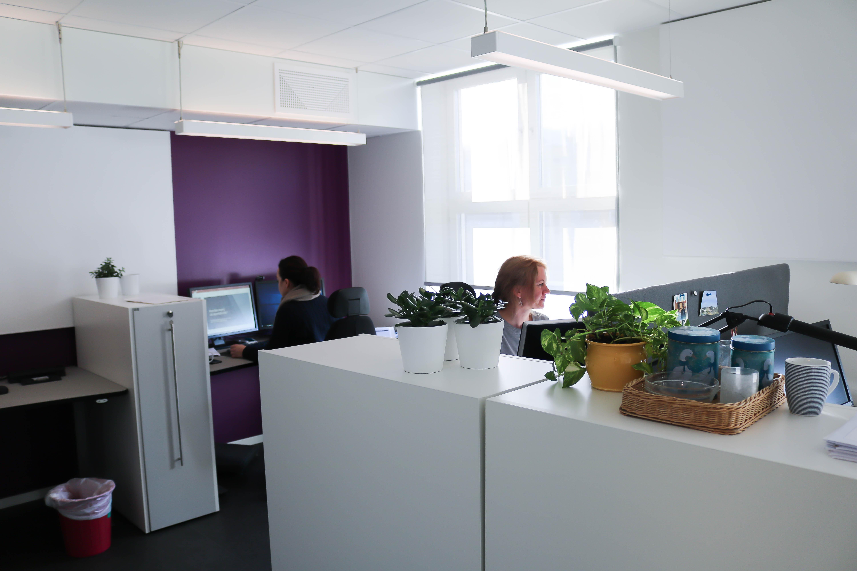 Kontorlandskap, to personer jobber med sine datamaskiner.