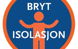 """Logo til fokusuke """"Bryt isolasjon"""". Sirkel med person inni, mellom orden """"bryt isolasjon"""". Oransje sirkel med mørkeblå bunn. Person i oransje, bokstaver i hvitt."""