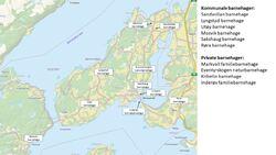 Kart over barnehager i Inderøy