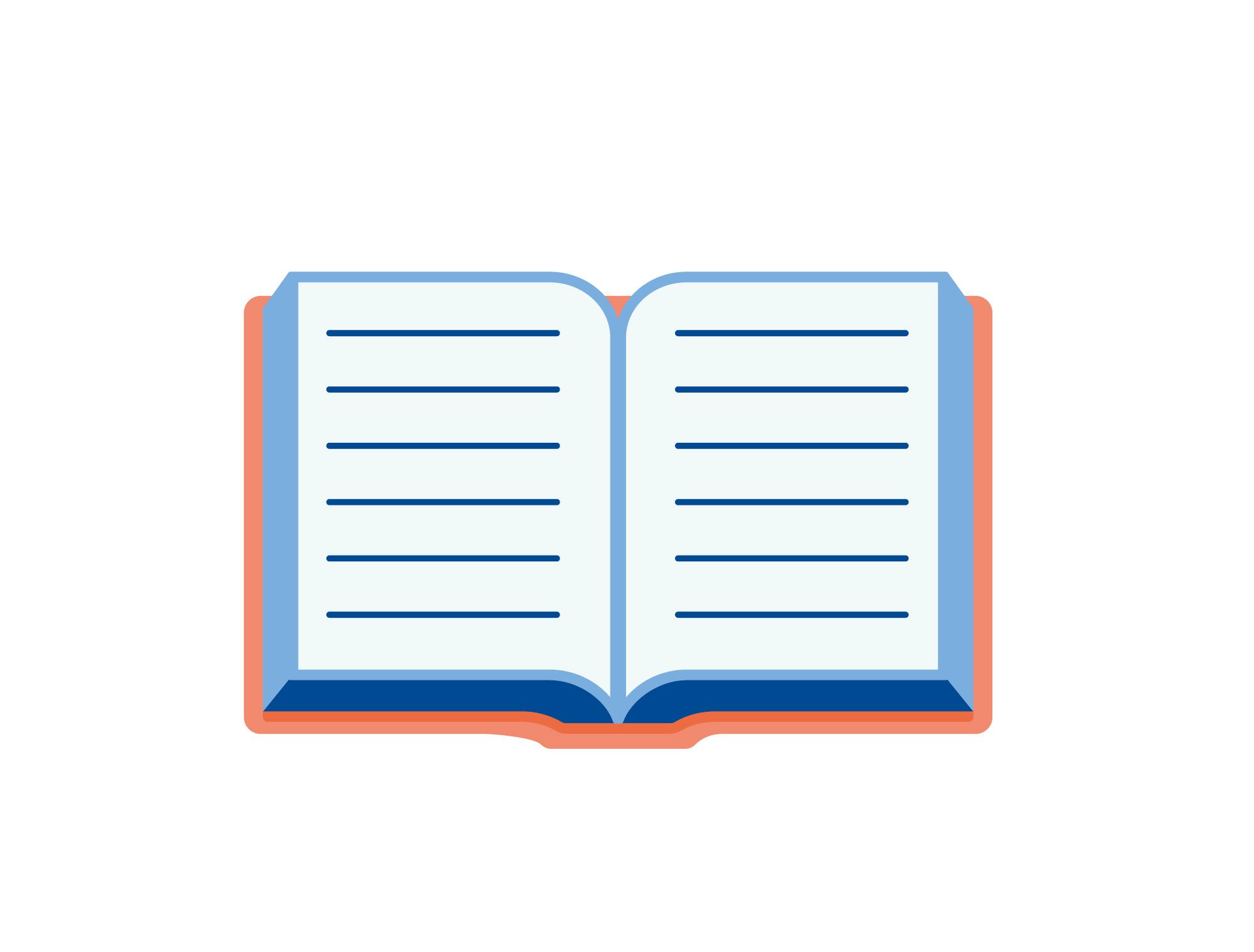 Tegning av oppslått bok.