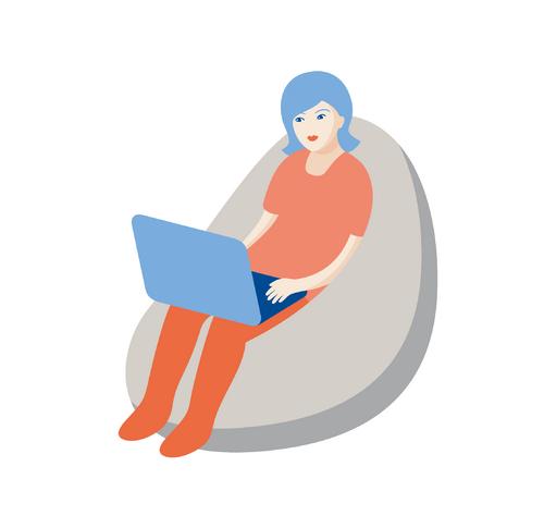 tegning dame som sitter i saccosekk med laptop på fanget