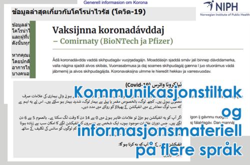 Kommunikasjonstiltak og informasjonsmateriell på flere språk[1]