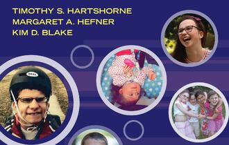Forside på bok om CHARGE-syndrom, seks runde bilder av ulike barn med CHARGE i aktivitet.