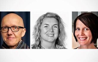 Sammensetning av tre portrettbilder, to kvinner og en mann.