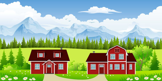 15202441-two-red-classic-country-houses