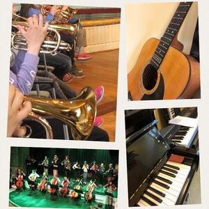 Bildekollasj av ulike instrumenter