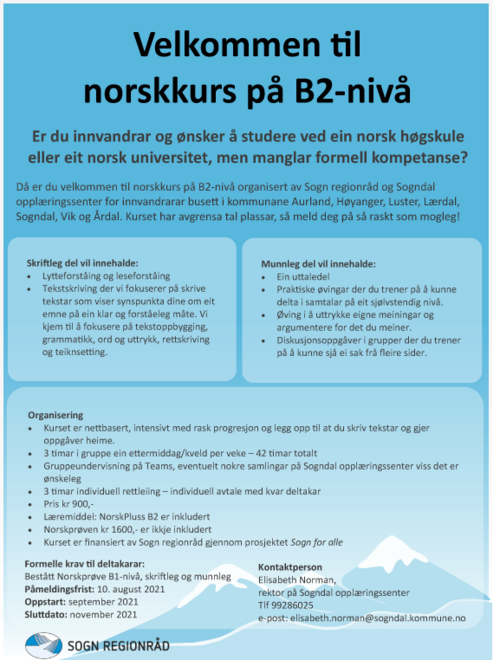 Plakat Velkomen til norskkurs B2