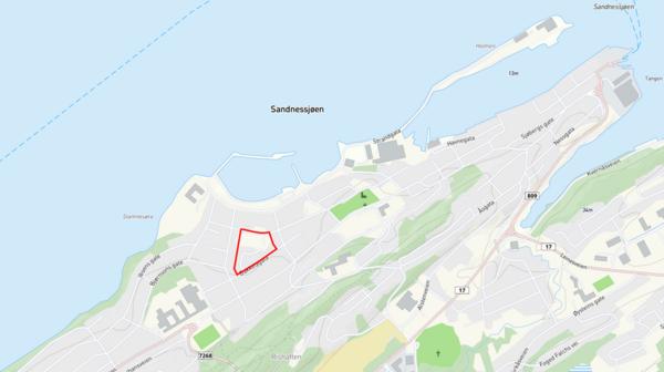 Planområdet markert med rødt på oversiktskart over Sandnessjøen.
