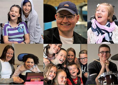Et stort bilde sammensatt av flere små bilder av smilende barn og unge.