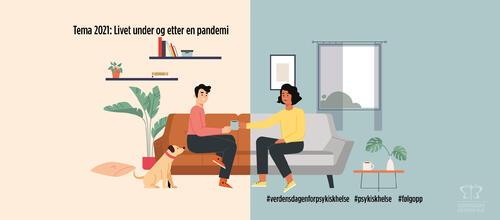 Illustrasjonsbilde for Verdensdagen for psykisk helse 2021: Mann og kvinne i sofa og hund ved dem på gulvet. De kommuniserer fint og drikker kaffe.